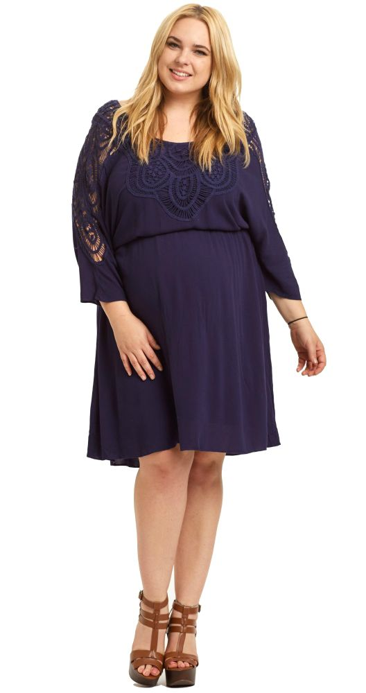 7bce68e278cd9 A pretty lace dolman sleeve plus maternity dress for a casual feminine  piece you can wear all year long. A lace accent detail and cinched under  bust style ...