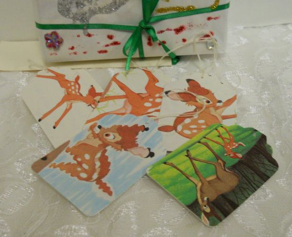 5 Disney Gift Tags - Bambi and Friends - Upcycled - Handmade - Free Shipping US - REFNO.CH5 @Colleen Cornelius