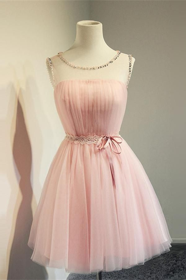 8a5861d558d Cute Pink A-line Beaded Short Simple Cheap Homecoming Dresses Z0037 ...
