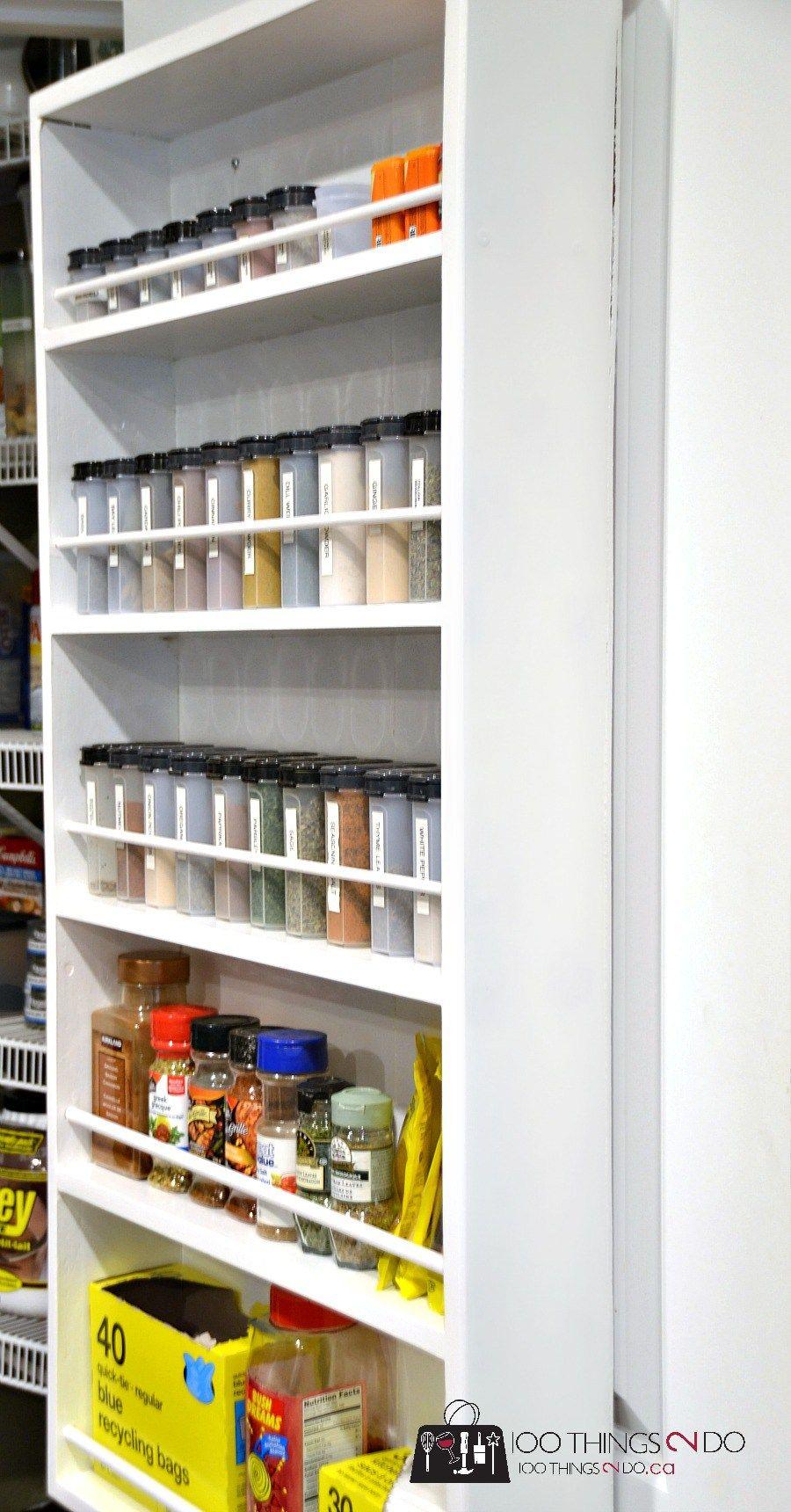 DIY Door Mounted Spice Rack | Door mounted spice rack, Doors and Pantry