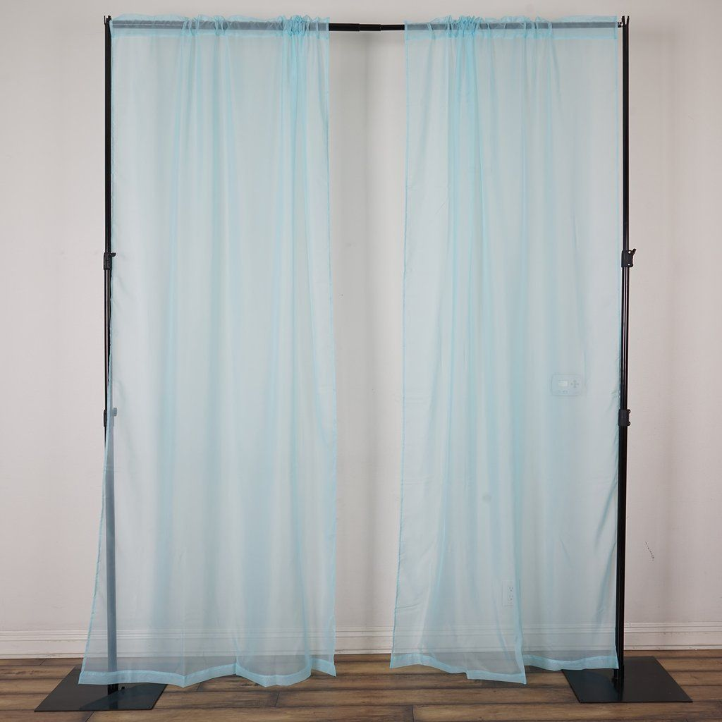 2 Pack 9ft Baby Blue Organza Sheer Backdrops Curtain Panel