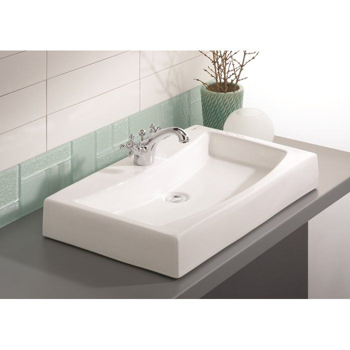 Mediterranean Vitreous China Rectangular Vessel Bathroom Sink in