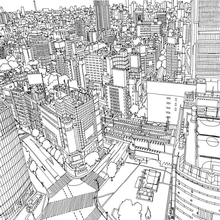 Highly Detailed Coloring Book For Adults Features Famous World Cities