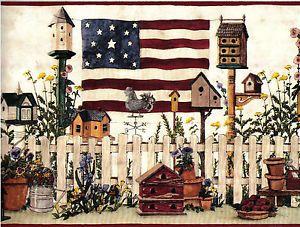 1 Roll Wallpaper Border Country Americana Flag Birdhouse Home Decor 5 Yard Vinyl Wallpaper Border Wallpaper Bird Houses