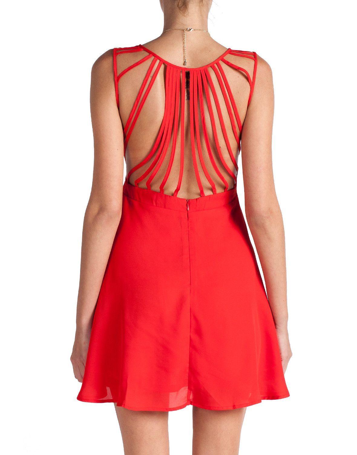 Strapped dress red open back nyedress dresses under