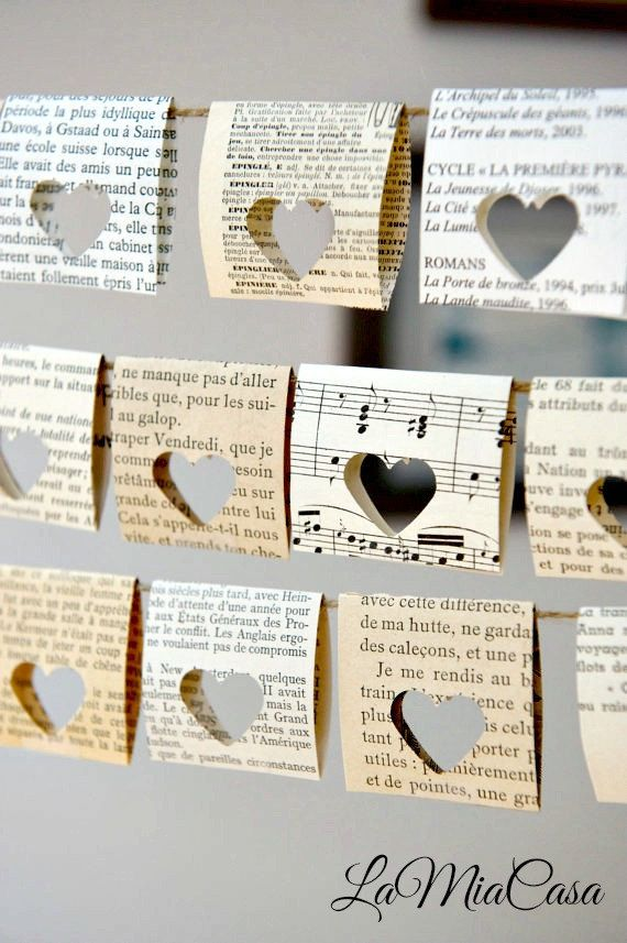 Chair Signs Paper Garland Book Themed Party Vintage Wedding Decor