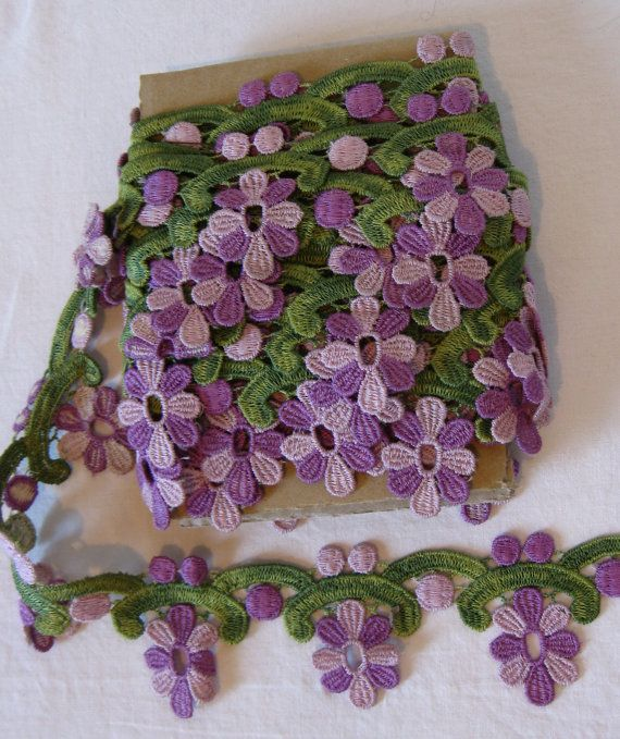 Purple Lavendar and Green Floral Trim 5 yds by AcornAndAlice