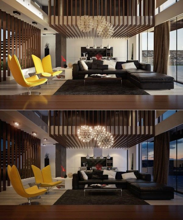 Interior Modern Double Height Living Room Design Idea With Monocrhome Sofa And Eye