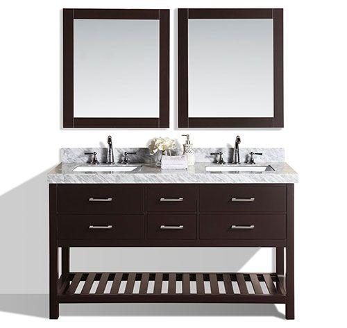 60 Laguna Espresso Double Modern Bathroom Vanity With White Marble Top And Undermount Sinks Bathroomre Modern Bathroom Vanity Modern Bathroom Bathroom Vanity