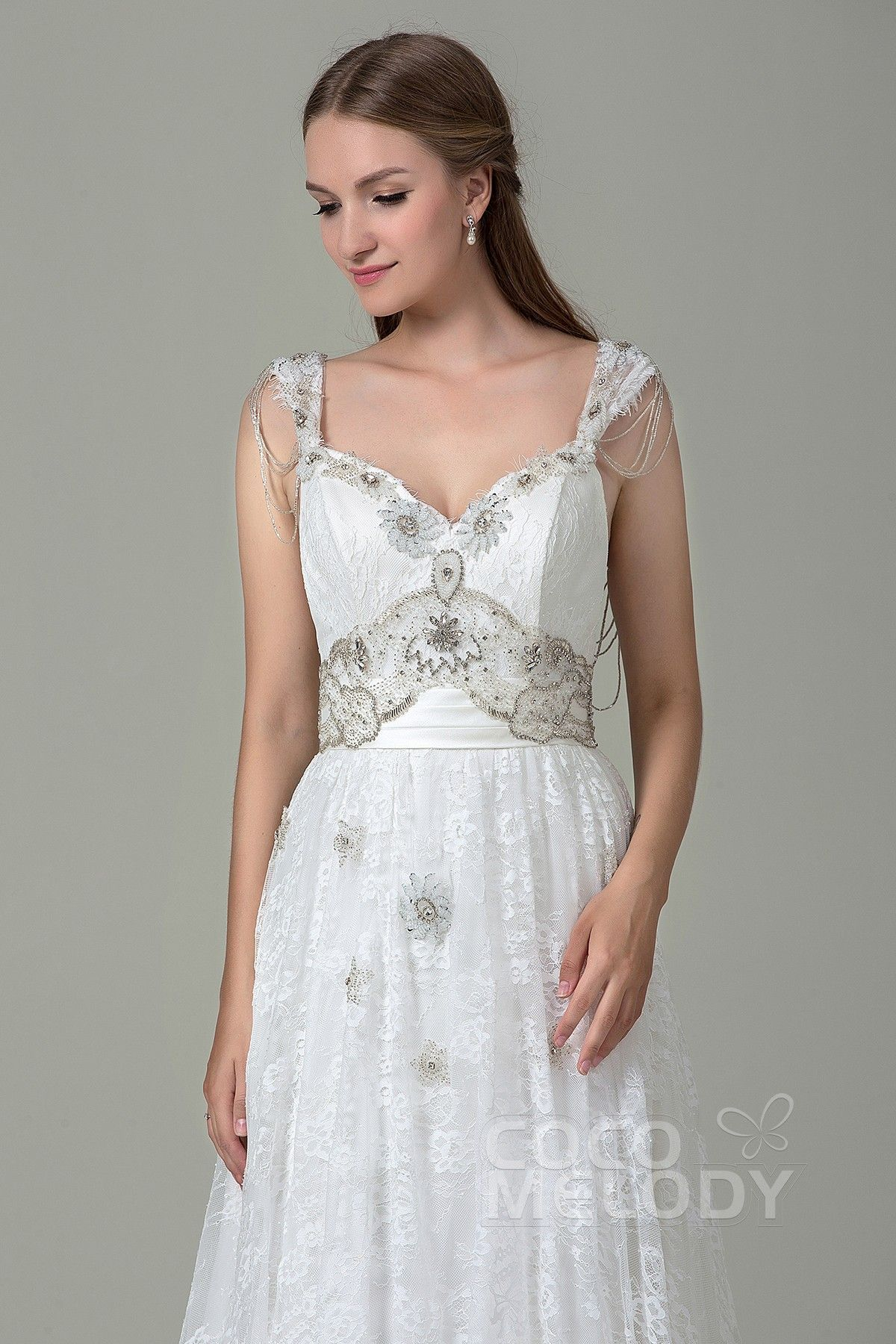 9c595341f3 Classic Sheath-Column Straps Natural Court Train Lace and Satin Ivory  Sleeveless Open Back Wedding Dress with Appliques Beading and Bowknot  LWZT140B8 ...