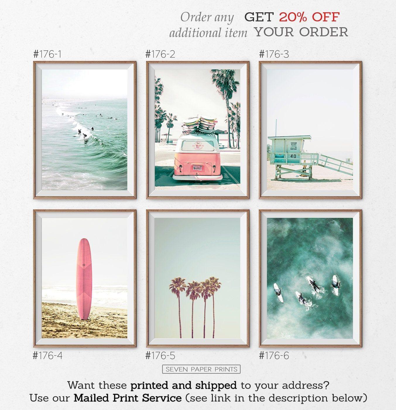 Coastal Wall Art Set Of 6 Prints With Pink Surfboard Retro Van