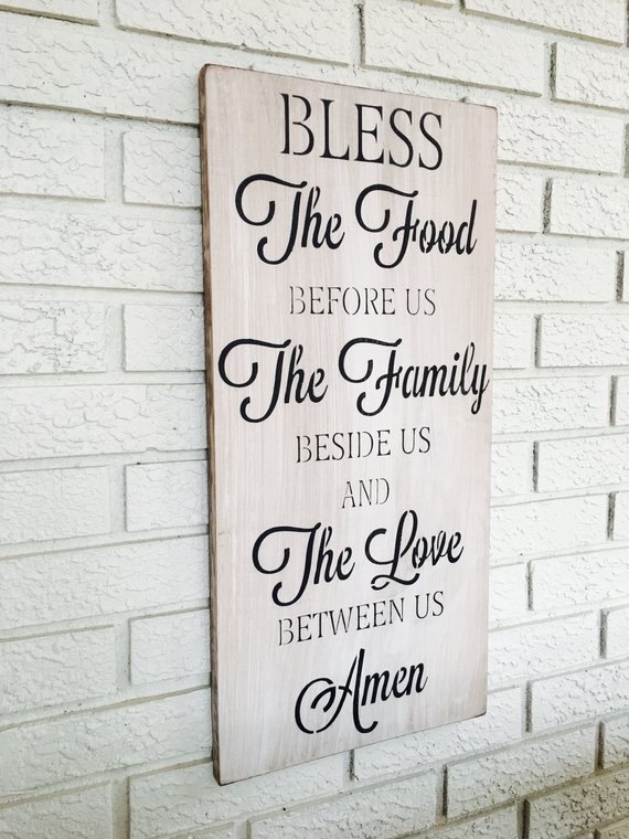 Bless The Food Sign Kitchen Wall Decor Vertical Wall Art Etsy Kitchen Wall Decor Kitchen Wall Art Farmhouse Style Sign