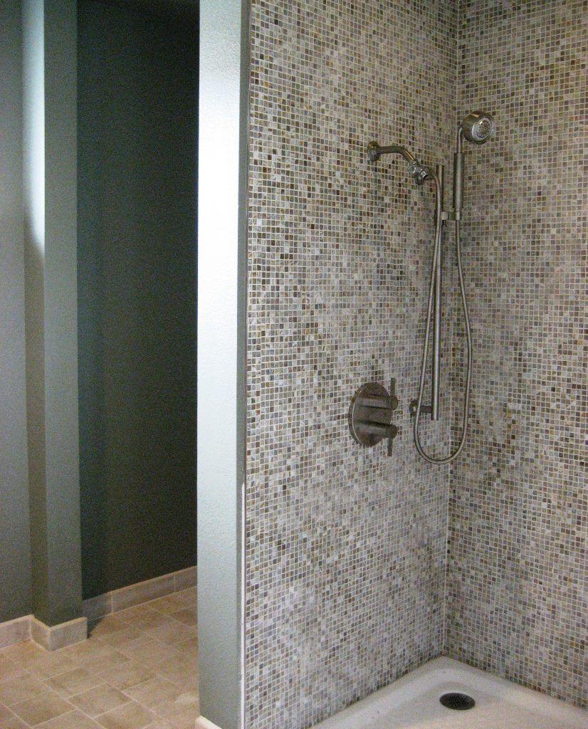 interior bathroom mosaic ceramic glass tile corner shower wall with ...