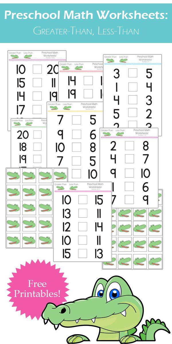 Preschool Math Worksheets: Greater-Than, Less-than   Pinterest ...