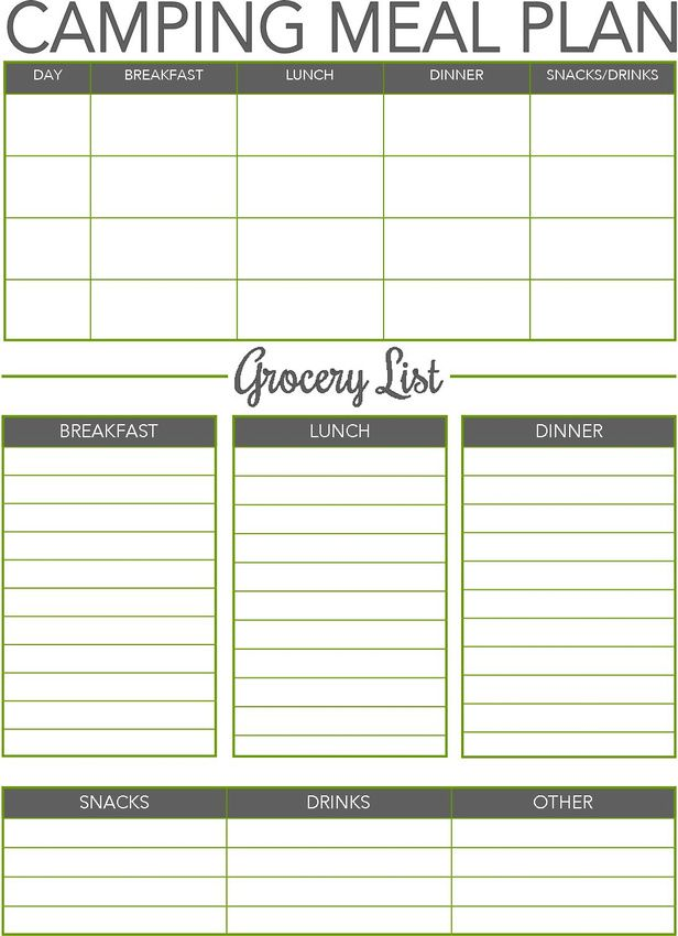 camping meal planner camping camping meals camping meal planner