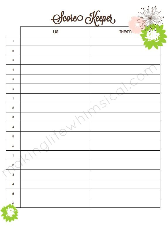 Free Bunco Score Sheets Only | Making Life Whimsical: April 2013