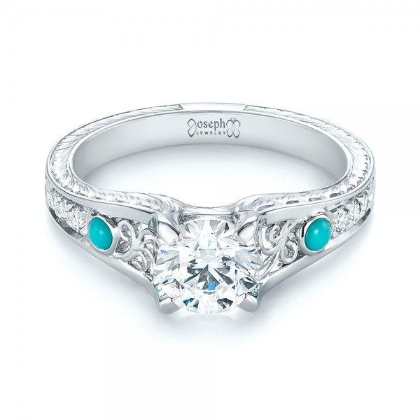 Custom Turquoise And Diamond Engagement Ring Joseph Jewelry
