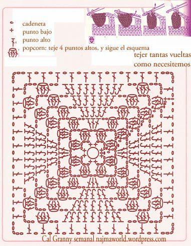 grosella granny square popcorn crochet | 1 | Pinterest | Häkelmuster ...