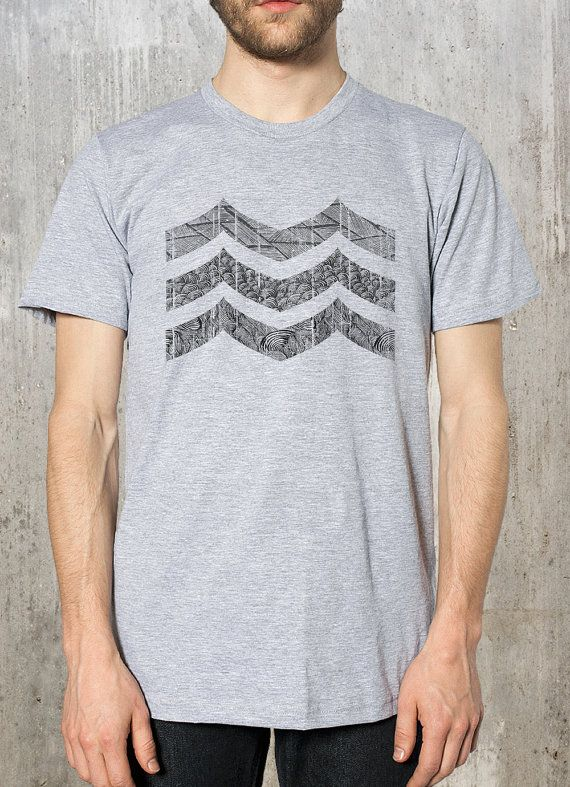 Abstract Mountain Illustration - Men's Heather Grey T-Shirt - American Apparel - Available in S, M, L, XL and 2XL