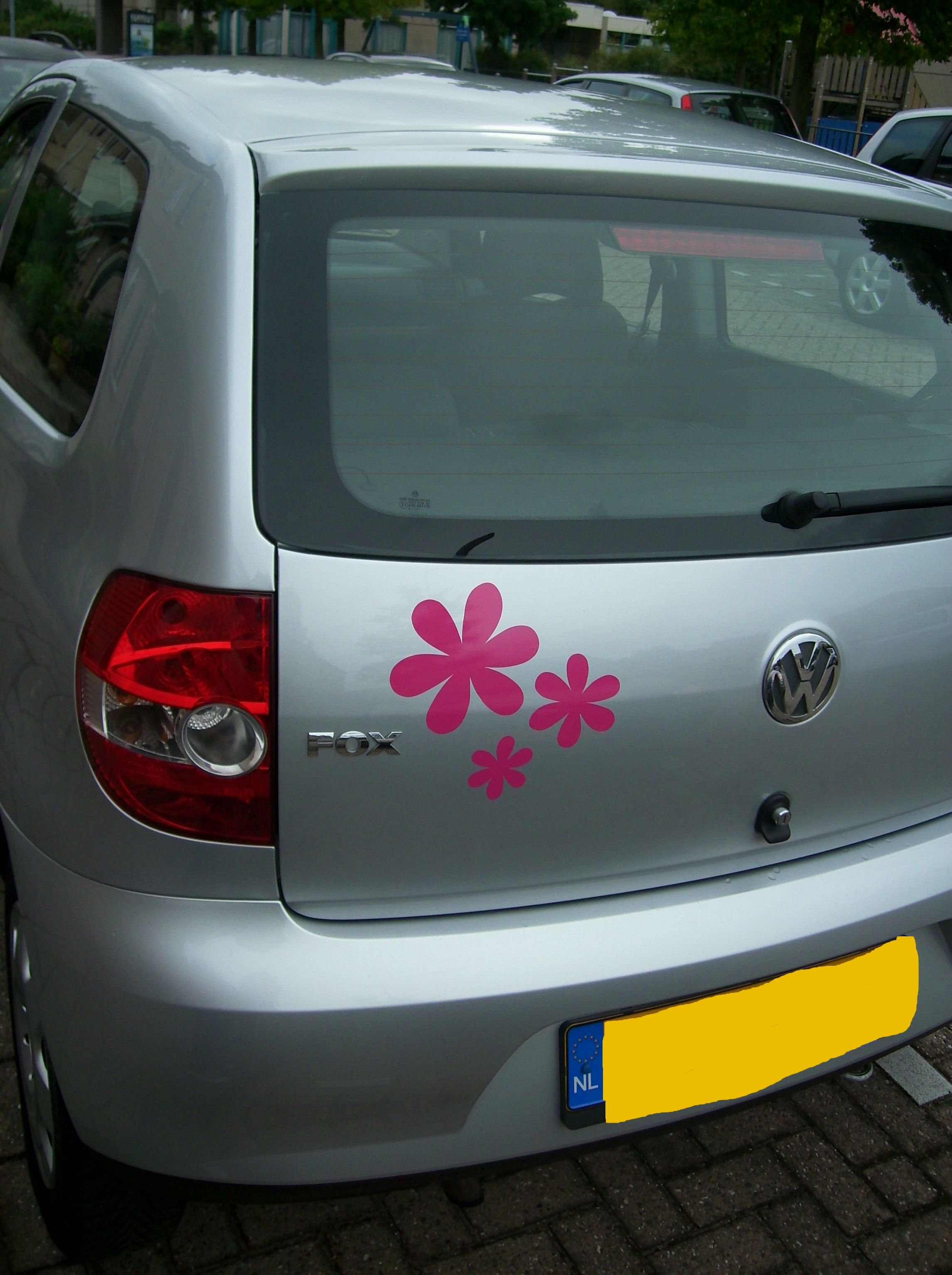 Klantenfoto bloemen sticker van www.auto-stickers.be