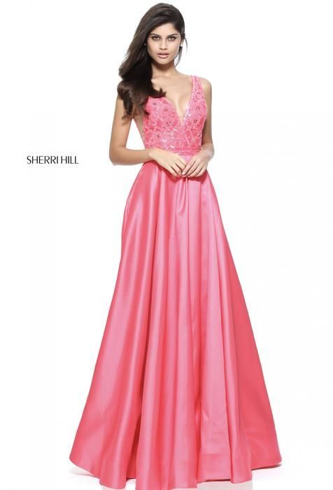 Beautiful pink v-neck long dress by Sherri Hill | Prom night | Pinterest