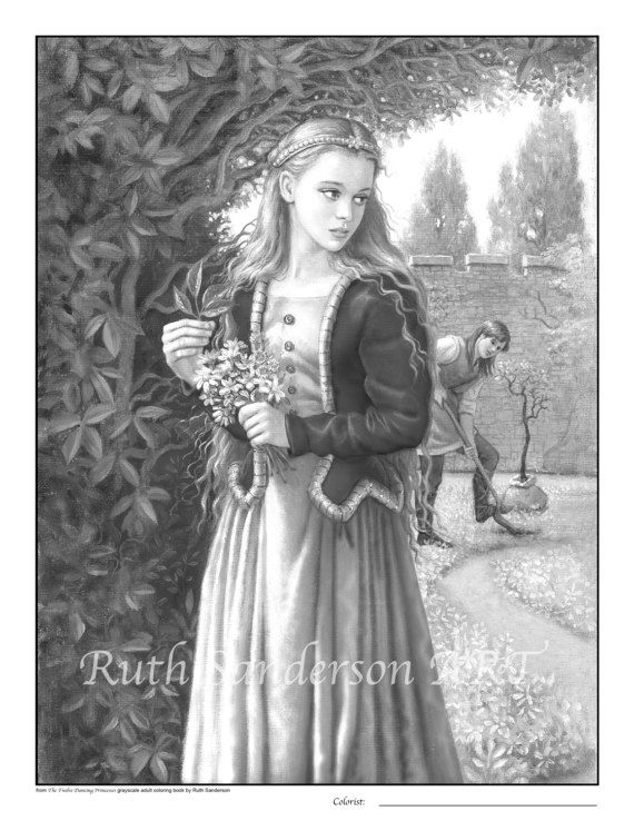 fairy tale romanceset of four coloring pdf by ruthsandersonart ruth sanderson grayscale adult. Black Bedroom Furniture Sets. Home Design Ideas