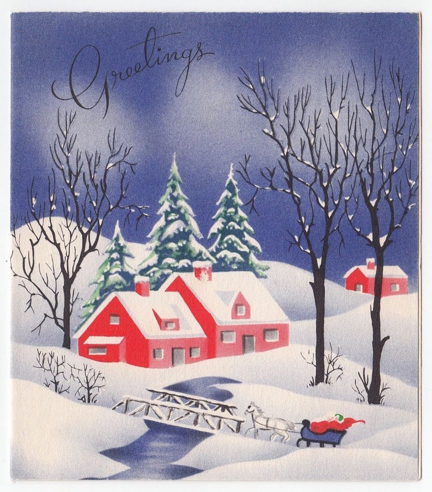 Vintage Greeting Card Christmas Red Houses Snowy Winter
