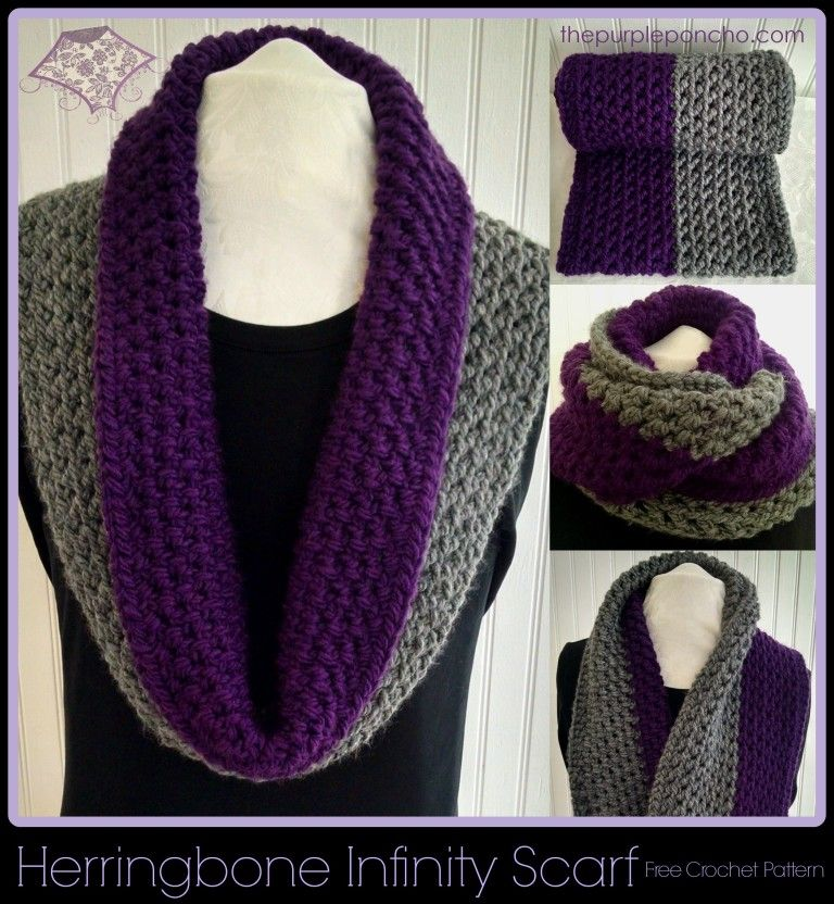 Herringbone Infinity Scarf A Free Crochet Pattern by The Purple ...