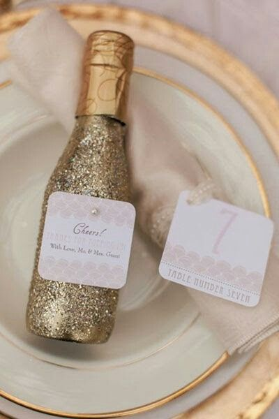 new years eve wedding favours // gold glittery champagne | Wed is ...