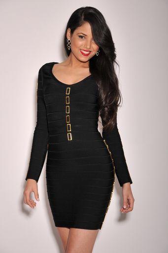 eebeddec6d3 Black Gold Decor Long Sleeves Bandage Dress