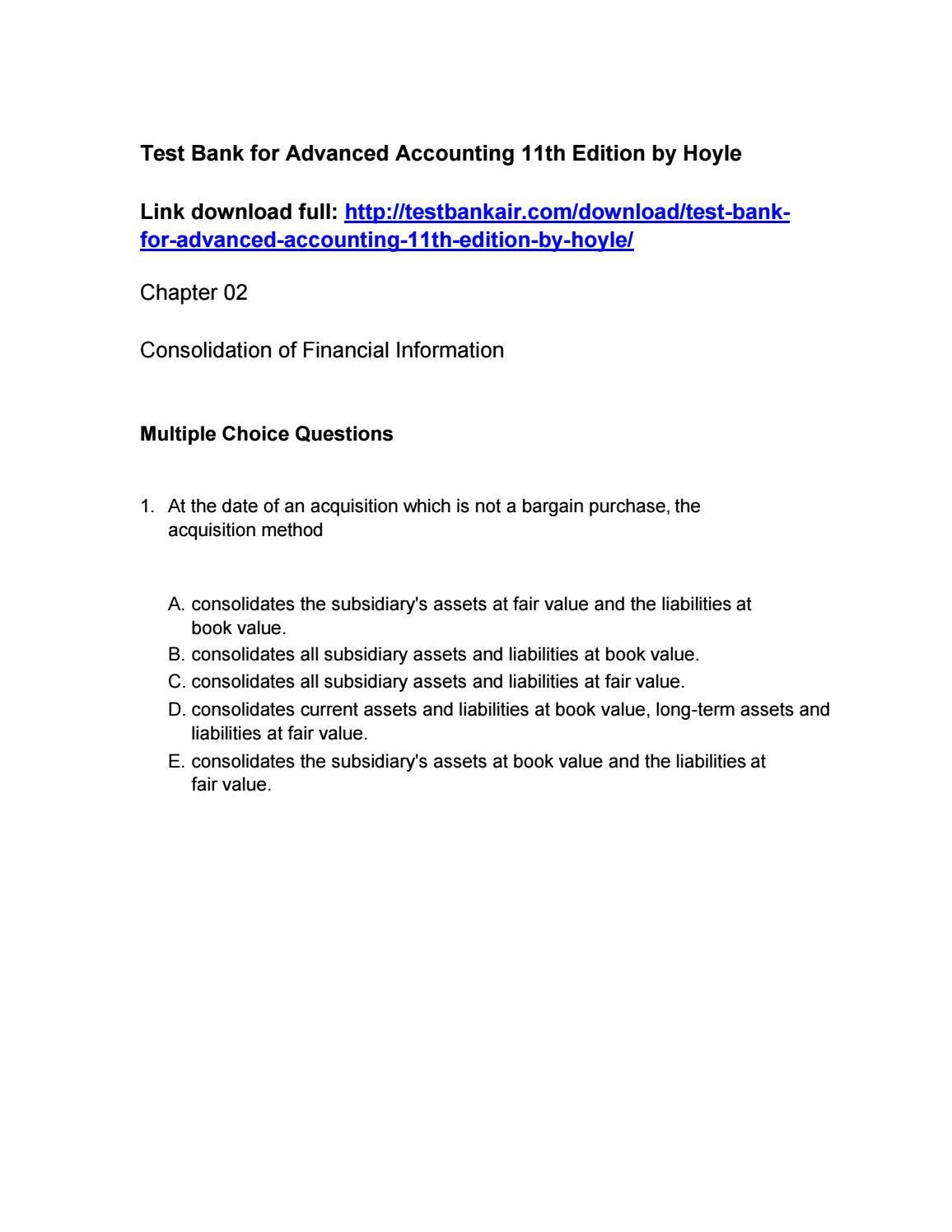 Pin On Advanced Accounting 11th Edition By Hoyle Test Bank Download