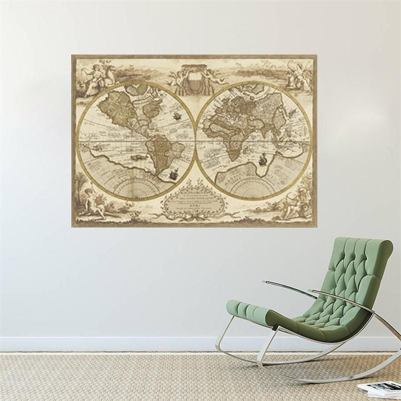 newest 3D vintage retro World Map home decal wall sticker office - best of world map bathroom decor