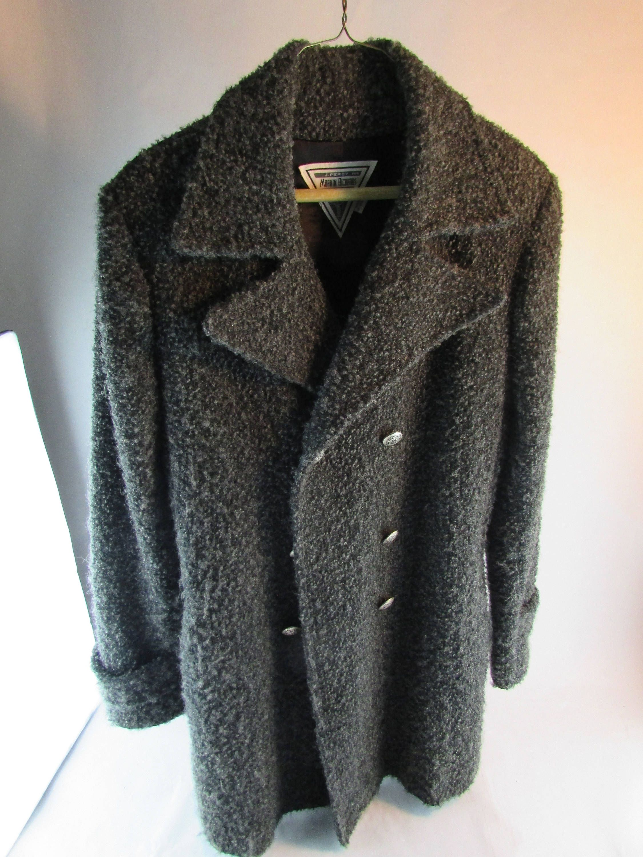 0c858a416bac Women s Wool Double Breasted Peacoat Size 6 - Gray Fuzzy USA Made Vintage  J. Percy For Marvin Richards by Cosmokra on Etsy