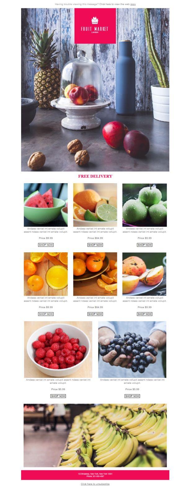 ¿Lo tuyo es la venta minorista de frutas? ¿Sandías, melones y manzanas? Prueba a hacer emailing con Mailify y darle color a tu negocio con estas plantillas newsletter que Mailify ha diseñado para ti.