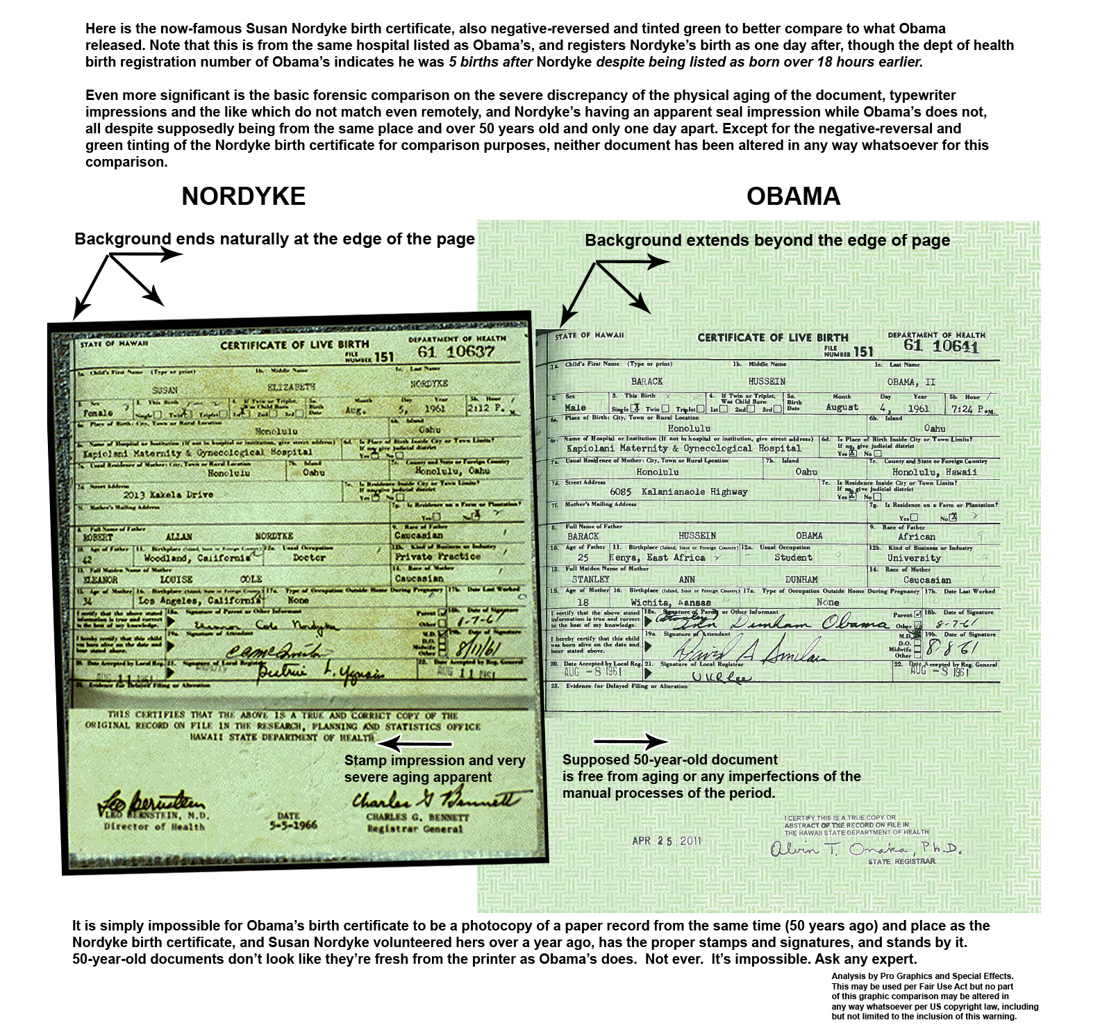 Nordyke Hawaiian Birth Certificate Compared To President Obamas
