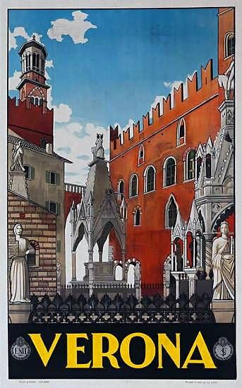 Verona | Vintage travel poster | European travel #Posters #Vintage #Affiches #Carteles #Retro # Ads #Europe #deFharo #Travels #Italy