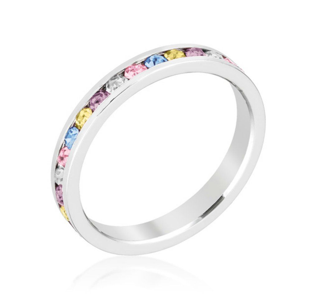 This is a graphic of Gail Multi Color Eternity Stackable Wedding Ring 48ct Joyeria