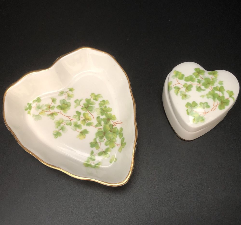 Canadian classic heart trinket dish plus lidded heart box shamrocks
