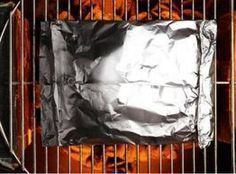 Grill in Foil - Meatball Mix  How to make a foil packet: 1. Lay a large sheet of heavy-duty foil or a double layer of regular foil on a flat surface. (Use nonstick foil where noted.)  2. Put the ingredients in the center of the foil. Bring the short ends of the foil together and fold twice to seal; fold in the sides to seal, leaving room for steam. Grill as directed. (Each recipe serves 2 to 4.)