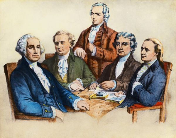 Portrait of George Washington and his four cabinet members ...