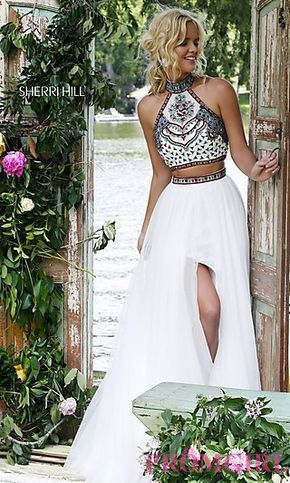 b9ea051a8a Sherri Hill Two Piece Dress with Embroidered Top at PromGirl.com
