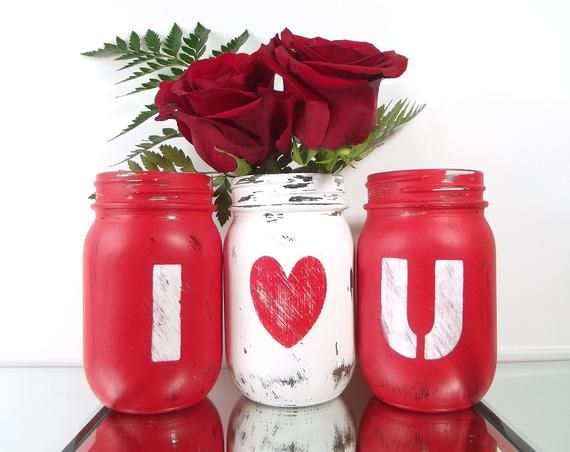 Valentines Day Decor, Distressed Mason Jars, Cute Home Decor, Colorful Home Decor, Room Decoration, Rustic Home Decorations, Mason Jar Decor - Valentines day decorations, Valentine's day diy, Valentine decorations, Valentine mason jar, Valentines diy, Valentines - paintedmasonjars Thank you!) Each jar is a 16 ounce (pint) and they will be Kerr brand jars  (They will all come with their lids and rings, none of which have been painted ) The jars have each been hand painted by me and distressed, to give them a rustic, cottage chic appearance  (Since they have been hand painted, there will be some brush strokes, which fit into the rustic style of the jars ) All the jars are painted on the outside and sealed, with a protective finish, so you can place water inside the jars  You may clean the outside of the jar, with a damp cloth  (Be gentle, though ) Do not submerge the jars underwater, let them soak in the sink or place them in a dishwasher  The flowers in the pictures are NOT included  (They are there to simply give you inspiration ) These jars DO NOT come with candles and I am NO longer making the sets into candles   If you need these jars for a large celebration, please let me know  I'd be happy to work with you! The jars are intended for indoor use only! Shipping Each jar will be made when your order is placed, so please allow 1 to 2 weeks for shipping  (If you need something sooner, please let me know and I'll try to work something out )