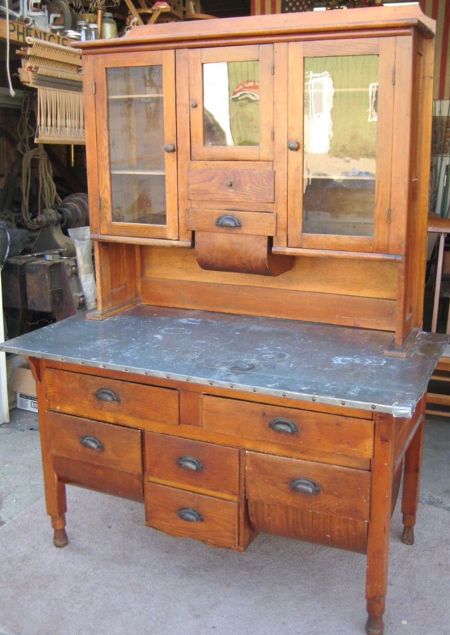 Pre-Hoosier cabinet (possum belly) ****I have this one, we always called it  a Bakers' Cabinet. - Old Hoosier/Possum Belly Cupboard Hoosier Cabinets Pinterest
