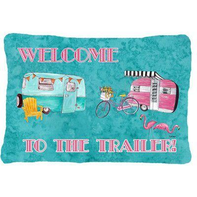Caroline's Treasures Welcome To The Trailer Indoor/Outdoor Throw Pillow