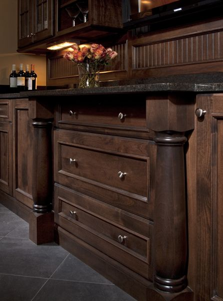 """Call it the return of the """"Cocktail Culture,"""" but more & more we are inviting friends & family to """"pony up to the bar,"""" in our own homes. A bar area or a wine room in our own home adds an extra level of comfort to your time together. #GreenfieldCabinetry #CustomCabinetry #BarCabinetry #CabinetryDesigner #Trend #Cabinets #BarDesignPicture #BarDesignPhoto #Image"""