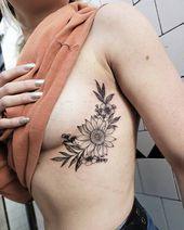 Photo of awesome sunflower tattoo ideas © tattoo artist Jordan Allred ❤🌻❤🌻❤….