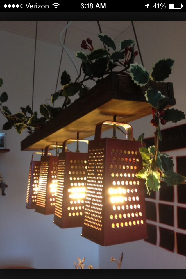 Kitchen Sink Pendant Light Kitchens Direct Cheese Grater Fixture | Vintage Rustic Home ...