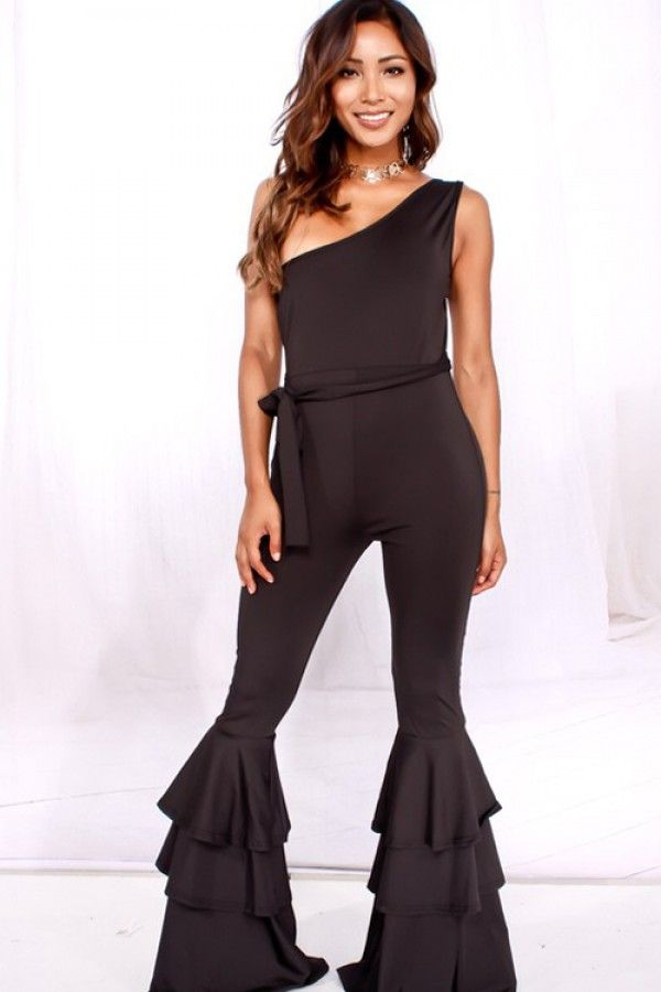 Black One Shoulder Casual Flare Ruffle Jumpsuit,sexy Jumpsuits And ... Black One Shoulder Casual Flare Ruffle Jumpsuit,sexy Jumpsuits And ... Woman Jumpsuits black jumpsuite flared leg for woman
