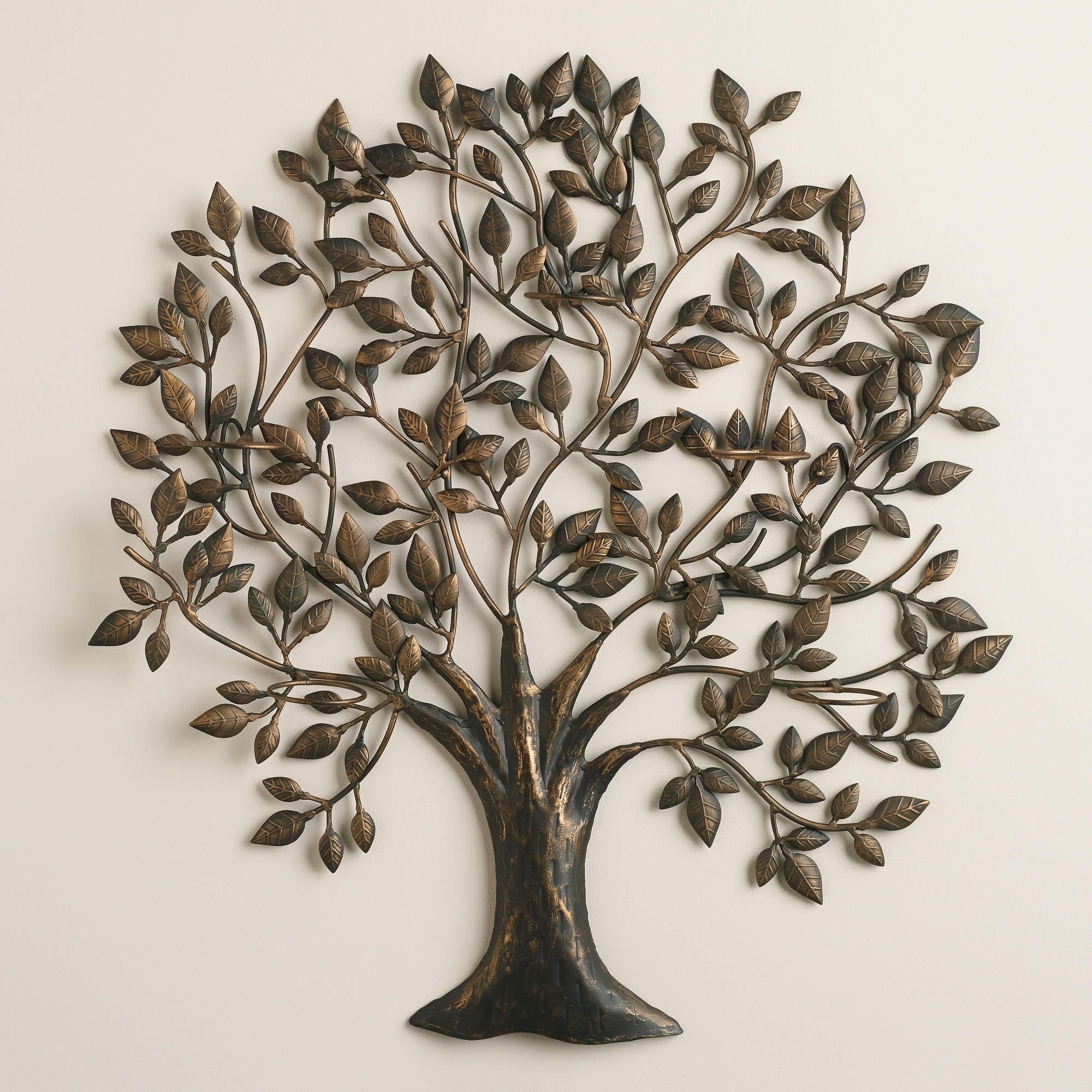 Tree Of Life Sconce Candleholder Cost Plus World Market Metal Tree Wall Art Metal Tree Rustic Wall Sconces