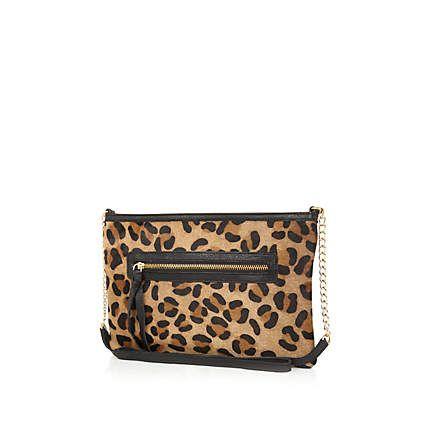 Leopard Print Pony Hair Cross Body Bag Riverisland